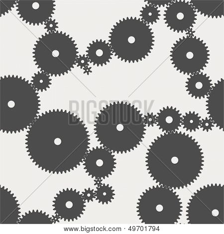 Seamless pattern with many gear wheels