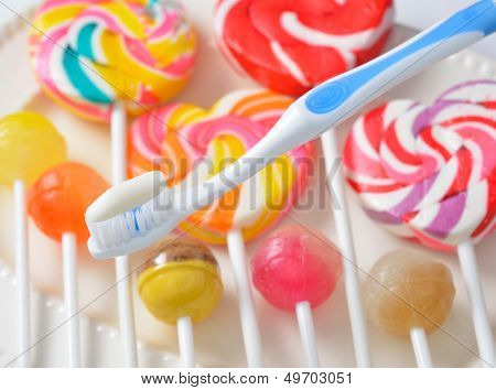 toothbrush on candy