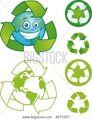 Recycle Symbol With Earth Character