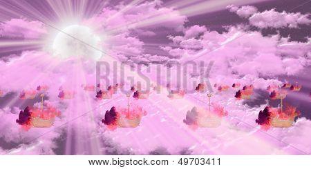 Burning ships over pink sky