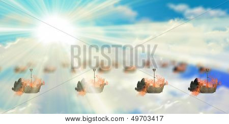 Blazing ships and blue sky