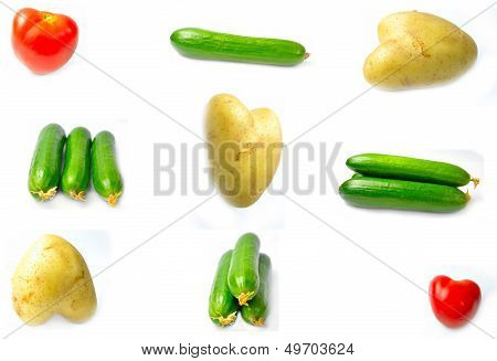Vegetables group with white background