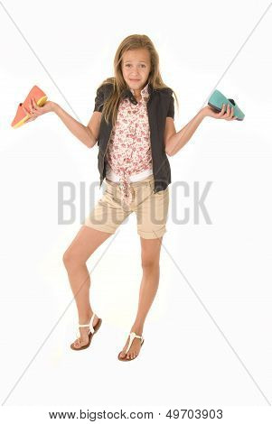 Confused Girl With Two Different Shoes