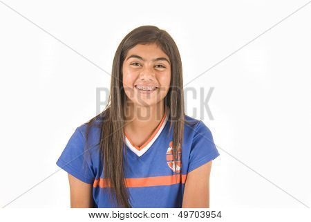 Young Dark Complected Girl In Soccer Jersey Football