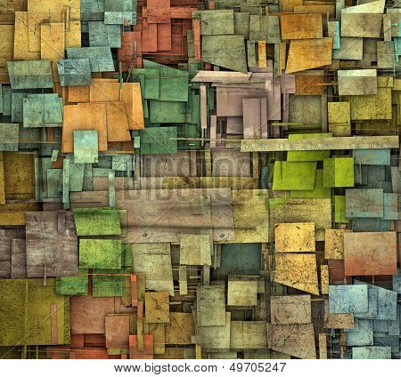 Fragmented Multiple Color Square Tile Grunge Pattern Backdrop