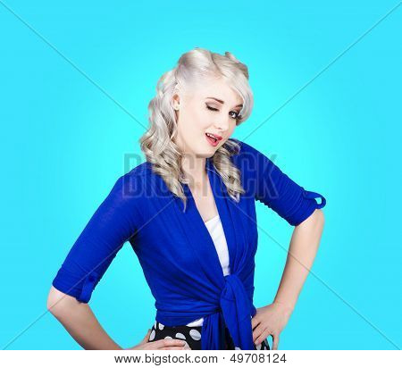 Sexy Woman Winking Eye On Pin-up Blue Background