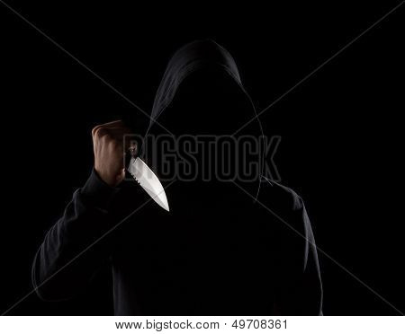 Dangerous Hooded Man Holding Knife