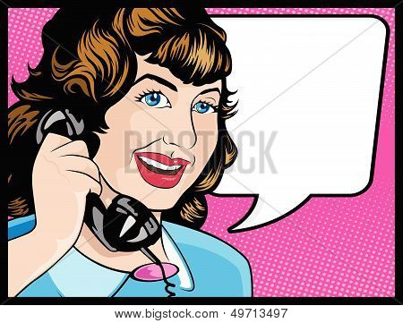 Comic Style Woman Gossiping On The Phone