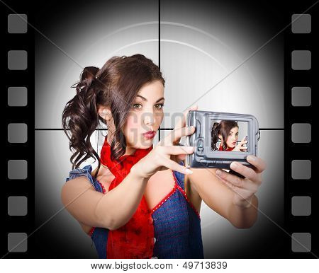 Woman Recording A Movie Using Video Camera