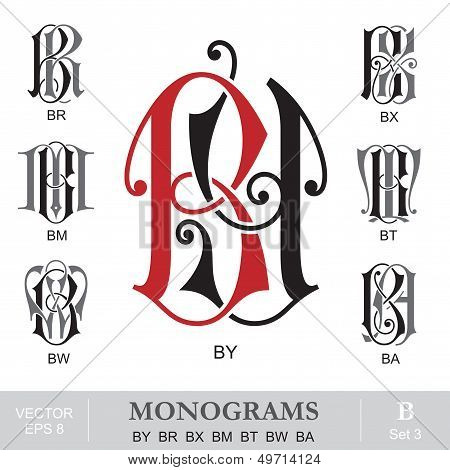 Vintage Monograms BY BR BX BM BT BW BA
