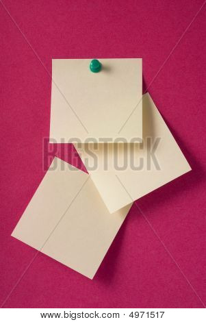 3 Blank Yellow Adhesive Notes On Red