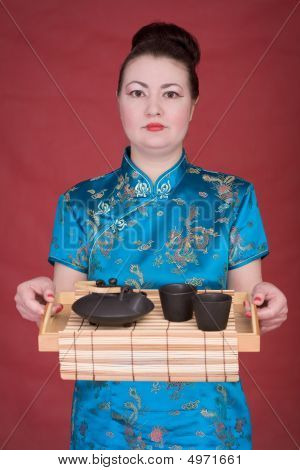 Japanese Girl With Tea-tray