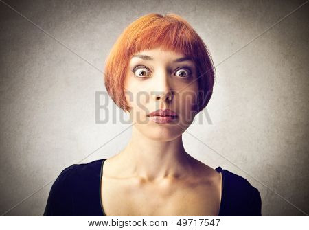 portrait of amazed woman