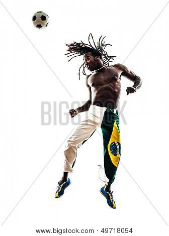 one brazilian  black man soccer player  heading football  on white background silhouette