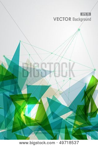 Green And Blue Network Geometric Transparency.