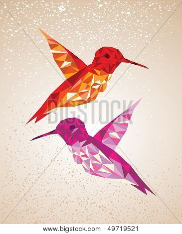 Colorful Humming Birds Illustration.
