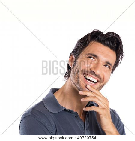 Happy Contemplated Young Man Isolated On White Background