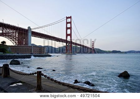 Golden Gate Bridge low angle perspective