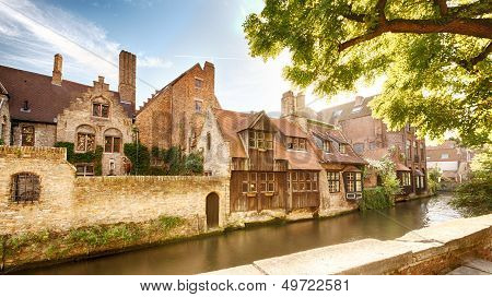 Old Houses By The Water In Bruges, Belgium