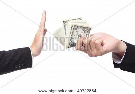 Business Man Refusing Money Offered