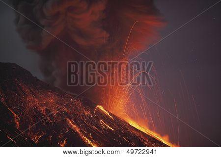 Molten lava erupting from Sakurajima Kagoshima Japan