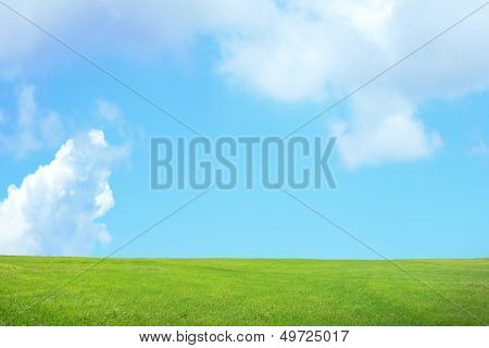 Green Grass With Sky And Cloud