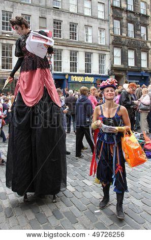 EDINBURGH- AUGUST 10: Members of  Factory Compagnia Transadriatica publicize their show Yurtakids Cinderella during Edinburgh Fringe Festival on August 10, 2013 in Edinburgh, Scotland