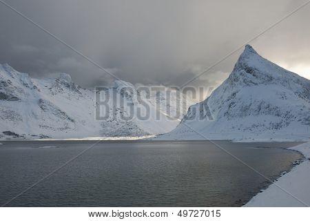 Coastal landscape on Moskensoy in the Loftofen archipelago Norway