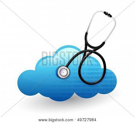 Medical Cloud Computing Stethoscope Illustration