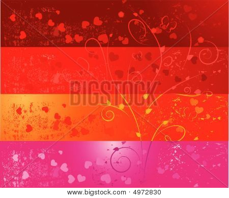 Four Grunge Banners With Hearts And Floral Ornaments