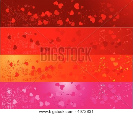 Set Of Four Grunge Banners With Hearts