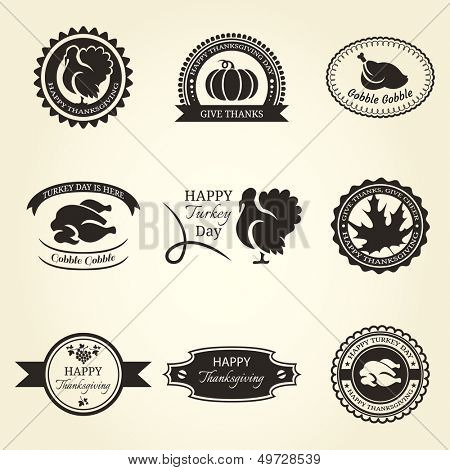 Set of Thanksgiving label isolated on beige background