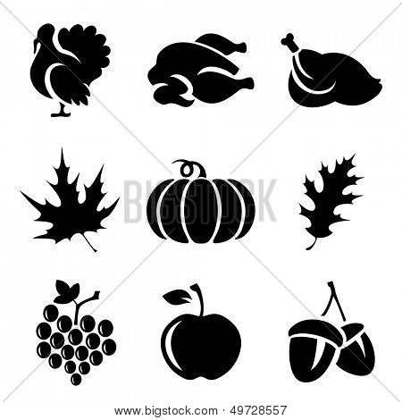 Set of Thanksgivin icons isolated on white background