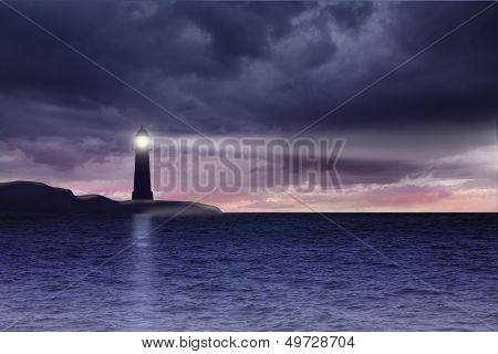 Lighthouse And Seascape With Dark Clouds At Night