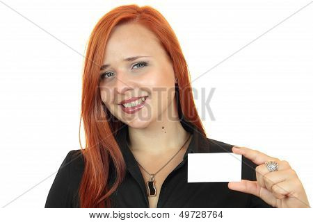 Beautiful smiling business woman with business card on white background