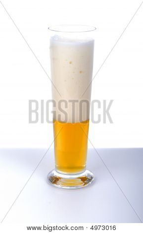 Beer Glass On White Table