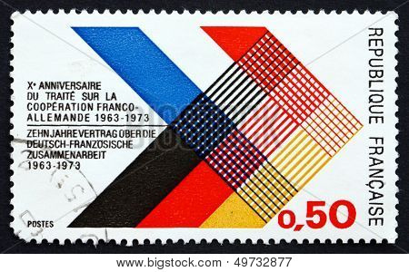 Postage Stamp France 1973 Colors Of France And Germany Interlaced