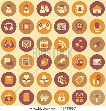 Social Networking ronde Icons Set