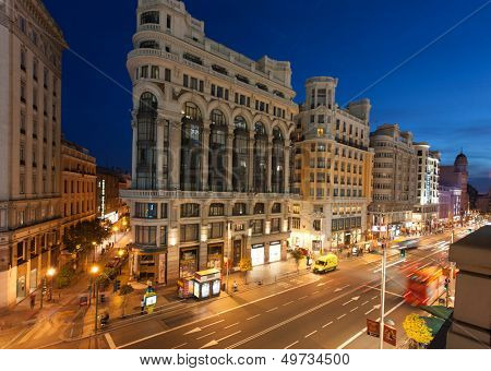 MADRID, SPAIN - MAY 9: night lighting  on Gran Vi�?�­a street , 09 May, 2012 in Madrid, Spain. Gran Vi�?�­a is an ornate and upscale shopping street located in central Madrid.