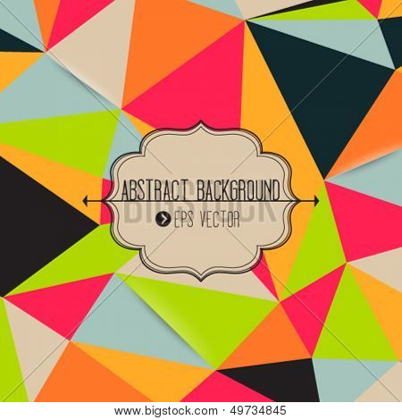 Abstract geometric template with neon colorful triangles and frame with arrows