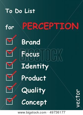 Vector eps concept or conceptual white perception chalk text blackboard word cloud,tagcloud on green background