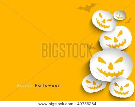 Sticker, tags or labels with scary halloween pumpkin on yellow background.