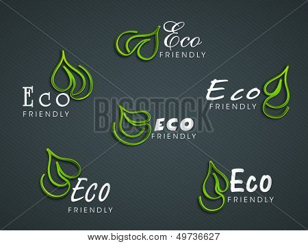 Stickers, tags or labels with green leaves for Eco.