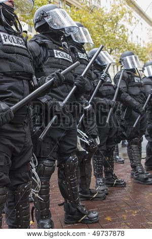 Portland Police In Riot Gear During Occupy Portland 2011 Protest
