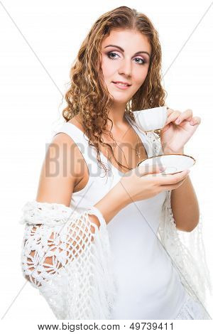 Beautiful Girl With Cup In Knitted Shawl On Isolated White