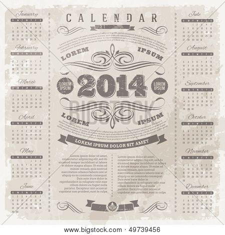 Vector lettering template design - Ornate vintage calendar of 2014 on a grunge background