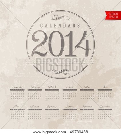 Vector template design - Decorative calendar of 2014 on a grunge vintage background