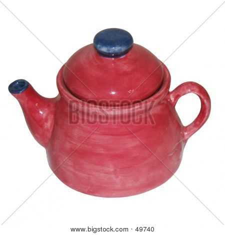 Blue And Cranberry Teapot