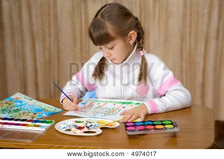 The Girl Painting A Picture