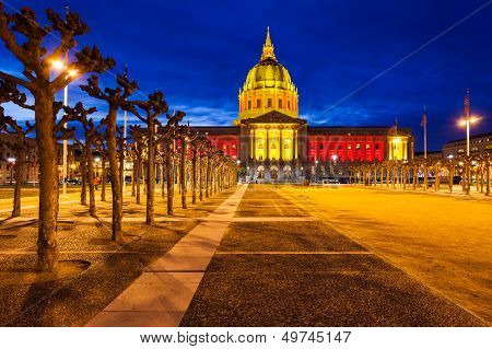 San Francisco City Hall In Red And Gold